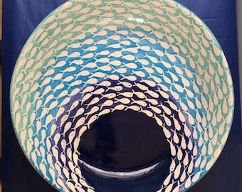 Blue fish shoal design wide centerpiece bowl