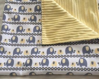 Gray and Yellow Elephant Blanket