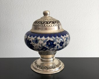 Vintage,Indian Blue And White Lidded Bowl,Embossed Silver Brass,Blue And White Ceramic Pedestal Bowl,Boho ,Indian Decor,Silver Lidded Bowl