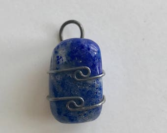 Blue Lapis Wire Wrapped Pendant