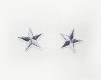 2x silver stars military pinup Rockabilly fashion custom Iron On Embroidered Patch Applique Star rock tattoo