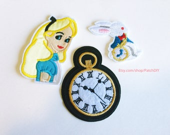 3 patches set Alice in Wonderland + white rabbit PATCHES custom Iron On Embroidered Applique cartoon Disney character clock blond girl kid