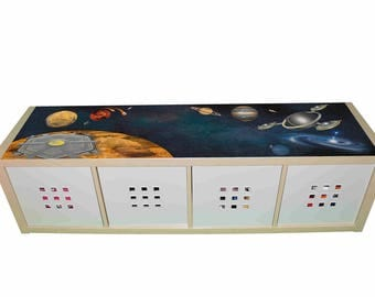 Space – Kids room furniture sticker – Ikea hack Kallax sticker for play tables/storage. - Furniture not included.