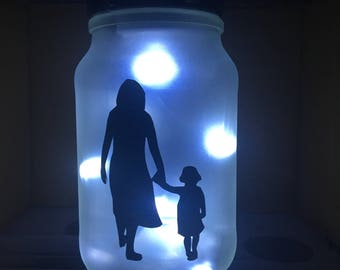 Mother and Daughter LED Battery Powered Jar Light. Upcycled glass jar lamp. Mother's Day gift. Mother and daughter silhouette.