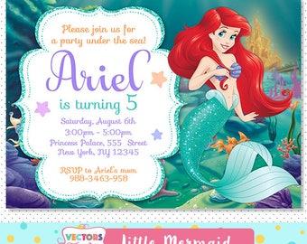 Little Mermaid Invitation, Little Mermaid Party, Little Mermaid Invite, Little Mermaid Birthday, Little Mermaid Birthday Invitation Disney