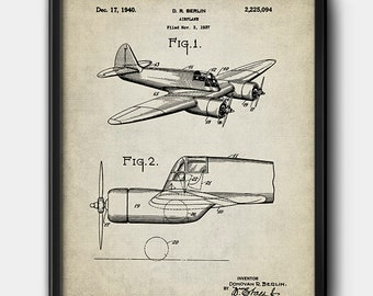 Airplane · D.R. Berlin · Patent · 1940 · Printable · Aviation · Vintage · Instant Download #203