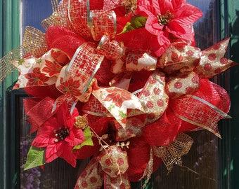 Red Deco-Christmas,  wreath, deco mesh, christmas, decoration, christmas,gold,door decor,gift,