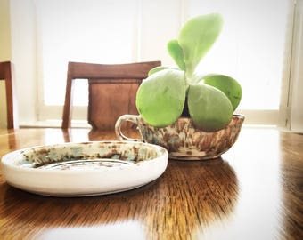 1970s handmade coffee/soup pottery with saucer|Set of 2|Each priced individually