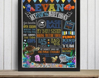 Finding Nemo Chalkboard Sign, Nemo Birthday Chalkboard, Dory Birthday Sign, First Birthday Chalkboard, Under the sea poster, Any age