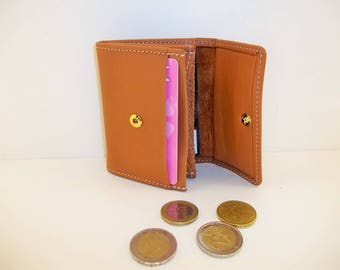 calf leather purse soft Tan: storage and 2 cards