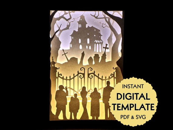 Template Addams Family Paper Cut File Silhouette Light Box