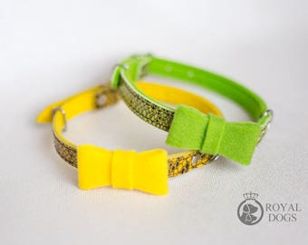 Dog Bow Tie Collar   Snake Skin Pattern Dog Collar   Yellow Dog Collar   Green Dog Collar   Yellow Dog Bow Tie  