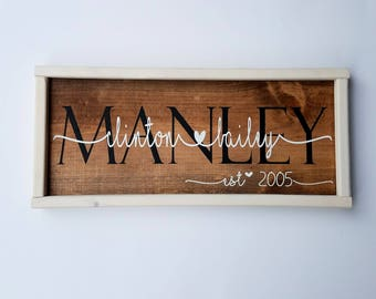 Custom framed couples wood sign - wedding gift - anniversary gift - shower gift - whitewashed wood - valentine's gift - stained
