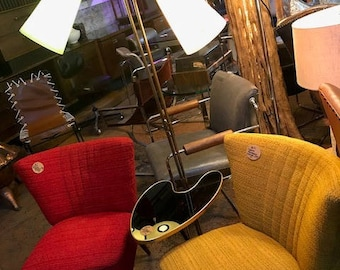 50's decor Parlor chairs & table lamp in red and yellow