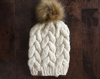 Luxury Braided Cable Beanie // Cream // Hand Knit Chunky Hat // Faux Fur Pom Pom // Chunky Knit Hat // Cable Beanie // THE CAYLEY //