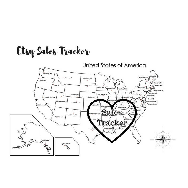 Etsy Sales Tracker Etsy Sales Map Coloring Page Etsy Sales - Full page us map