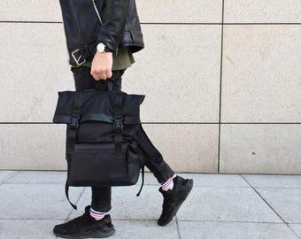 Hipster Backpack,Men Backpack,Canvas Backpack,Rolltop Backpack,Roll Top Backpack,Laptop Backpack,Backpack Men,College Rucksack,Gift for Him