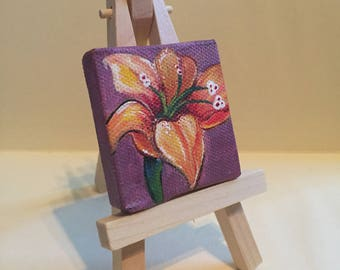 "Mini Flower Painting, 2x2"", acrylic on canvas"
