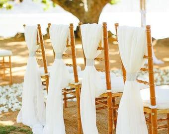 Bohemian Wedding Farm wedding 2 Chiffon Drape Chair Sash Romantic Chair Décor Bridal Shower Wedding Ceremony Event Reception Engagement
