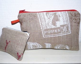 "DUO purse/pouch zippered flat pattern ""Paris postcard"""