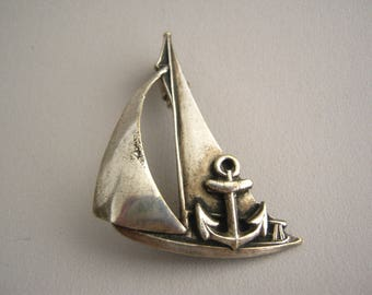 sailing ship Anchor Voilier yacht Vintage retro brooch Brooch / Boat - sea -  jewelry