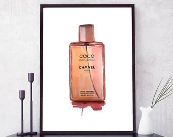 Coco Chanel Perfume Bottle poster. Coco Mademoiselle print. Coco Chanel Print. Coco Chanel Watercolor. Coco Chanel wall art. Chanel Decor.