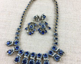 Vintage Signed 1950 COPR HOLLYCRAFT Neckace & Earrings Set
