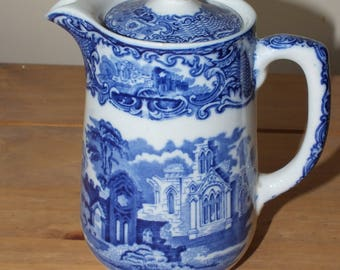 George Jones and Sons Abbey Ware Vintage Blue Transferware Hot Water Pot Coffee Pot
