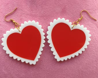 Small Kitsch Kawaii Valentines Acrylic Perspex Red Hearts with White Frill Dangle Earrings