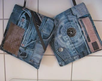 Oven mitts with Jeans look. 20 x 20 cm