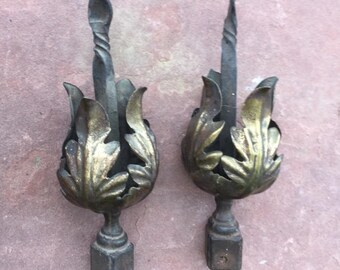 Vintage Finials, Collectible Hand Wrought Finials, Old Hand-Crafted Metal Finials, Unusual Antique Finials, Old Metal Fence Finials, Finials