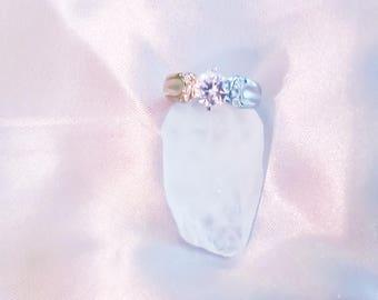 Triple Moon Goddess cz silver ring