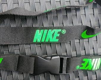 NIKE Black Lanyard with Green Print High Quality
