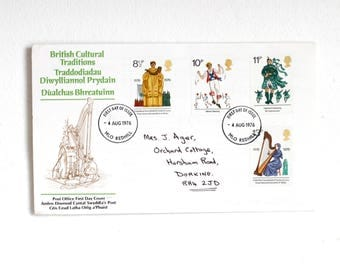 First  Day Cover 1976,  British Culture and Tradition Stamps,  Vintage British Post Office Stamps,  Musical Instruments Stamps