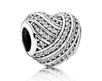 New Authentic Pandora Sparkling Love Lines Charm 791885CZ w Gift Pouch