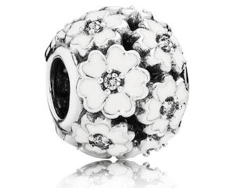NEW Authentic Pandora Silver & White Enamel Primrose Meadow Charm  791488EN12