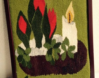 Swedish Framed Handwoven Flemish Tapestry - Candle and flowers