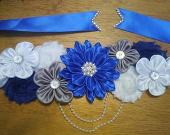 Royal blue, white and grey maternity sash