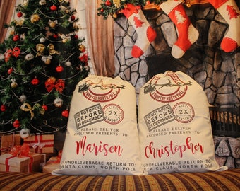 Personalized Express Delivery from the North Pole, Canvas Santa Sack, santa sack, personalized, christmas bag, santa bag, canvas bag, canvas