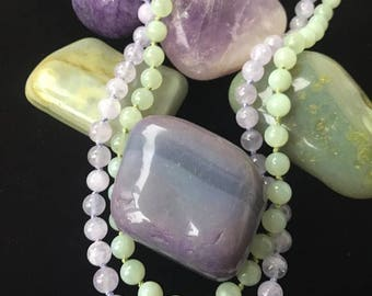 Gorgeous cape amethyst and new jade hand knotted necklace set