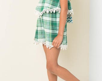 plaid romper with lace