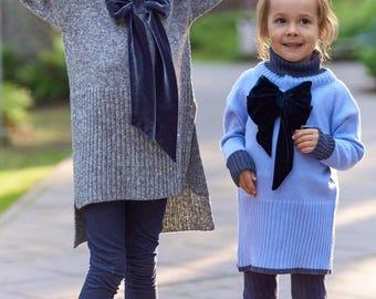 Handmade knitted oversized kid sweater with Bow, girly, artsy, romantic, children, girl, toddler