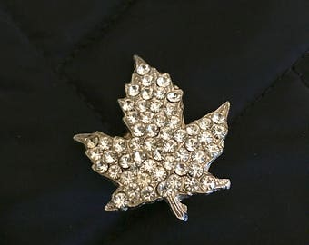 Lovey Multiples of Rhinestone cover this Fall Maple Leaf, Canadian - with lots of glam
