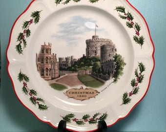 Vintage 1980 Queen's Ware Christmas Plate Wedgwood, 1980 Christmas plate, Collectible plate, Windsor Castle