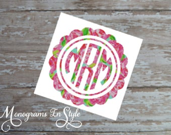 Lilly Monogram, Lilly Pulitzer Inspired, Scallop Circle Monogram,  Monogram, Monograms, Yeti Decal, Car Decal, Lilly Pulitzer Vinyl, Tumbler