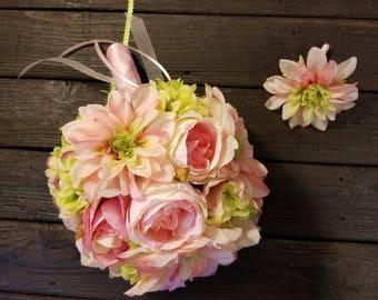 Pink Bridal Bouquet Light Green Wedding