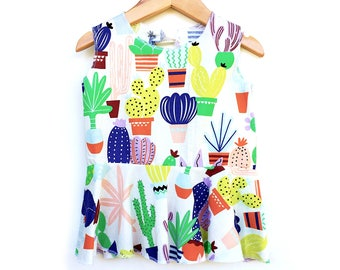 Agave Cactus Succulent Cotton Circle Peplum Girls Keyhole Top, Alexander Henry
