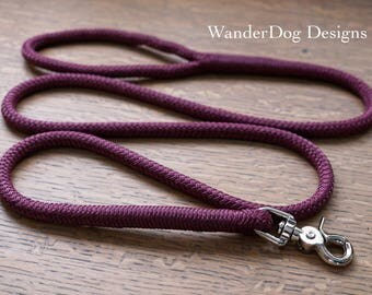 Rope Dog Leash ~ Maroon Leash ~ Burgundy Leash ~ Custom length and snap ~ Soft and durable ~ Customizable ~ Nautical dog leash