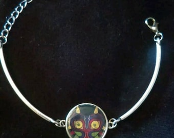 Curved Bar Charm Bracelet Silver Plated Nintendo Zelda Link Triforce