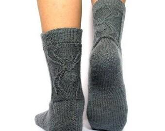 Hand knitted wool socks Knitted socks Knit socks wiht spider